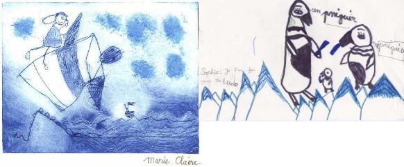 dessins réalisés par des enfants lorsque j'étais dans l'Atlantique et en Antarctique
