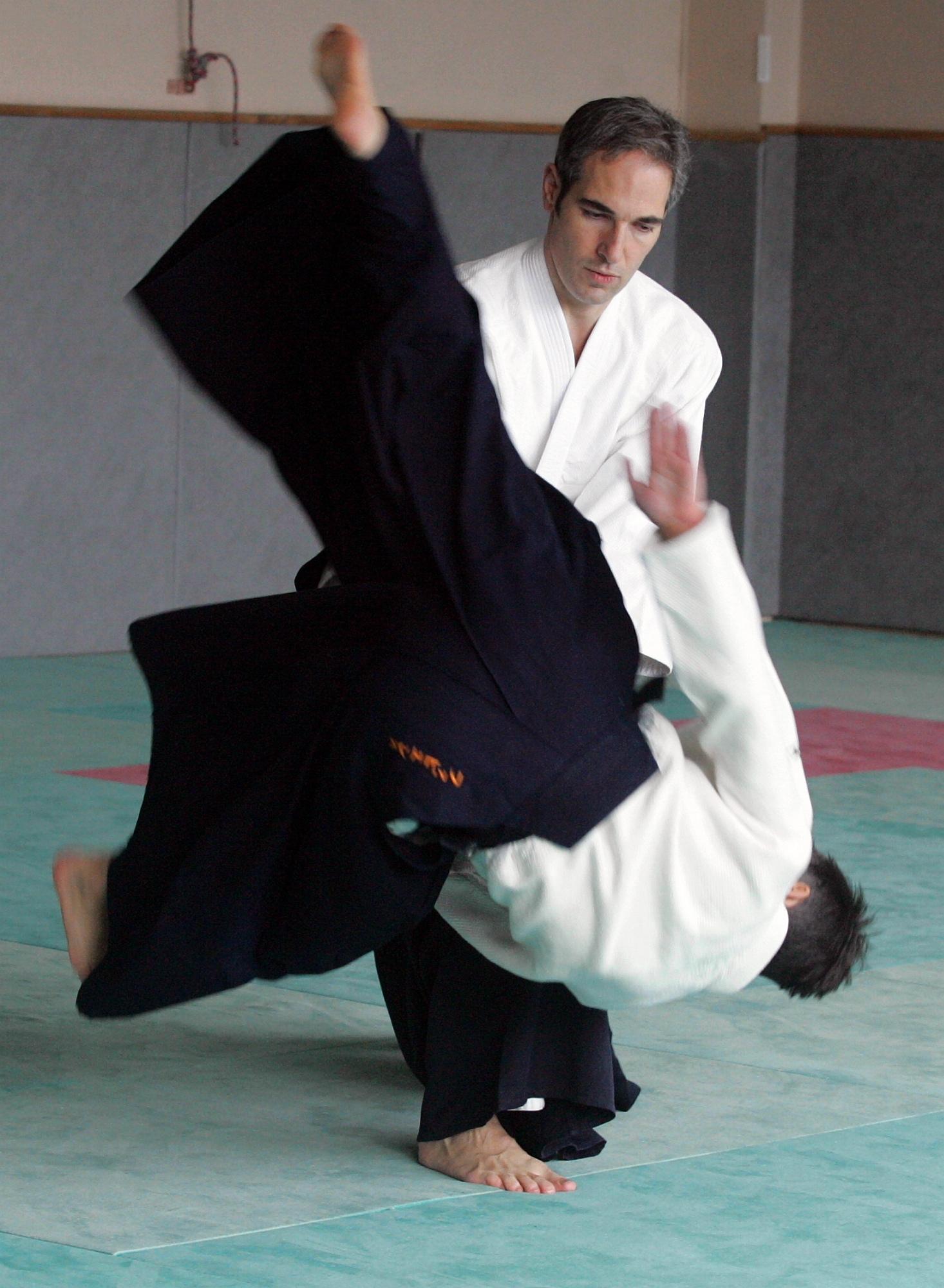 Eric en plein cours d'Aïkido