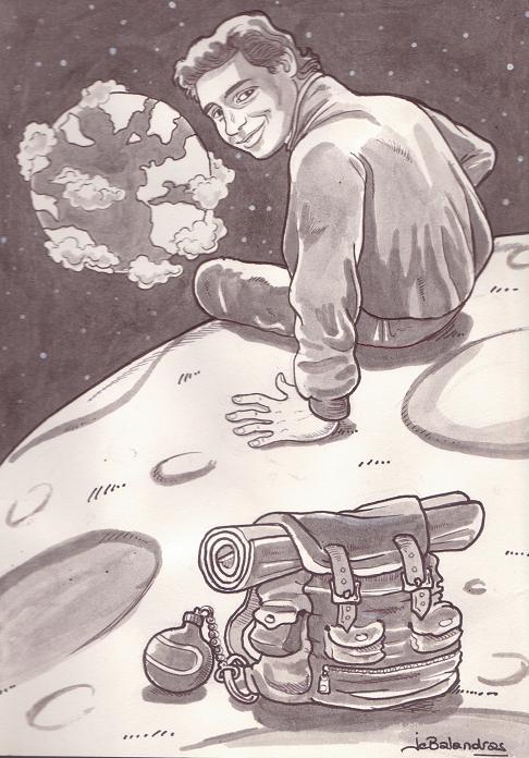 un dessin de Jean-Christophe Balandras m'illustrant sur la lune à regarder la terre